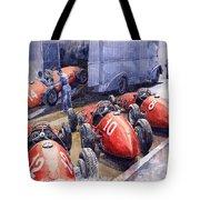 Team Ferrari 500 F2 1952 French Gp Tote Bag by Yuriy  Shevchuk