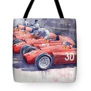 Team Lancia Ferrari D50 type C 1956 Italian GP Tote Bag by Yuriy  Shevchuk