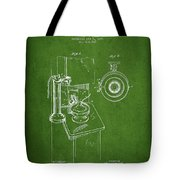 Telephone Patent Drawing From 1898 - Green Tote Bag by Aged Pixel