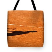 Tennis Player Shadow On A Clay Tennis Court Tote Bag by Dutourdumonde Photography