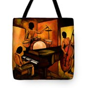 The 1st Jazz Trio Tote Bag by Larry Martin