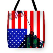 The American Flag Over Iwo Jima 20130210 Tote Bag by Wingsdomain Art and Photography
