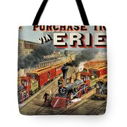 The American Railway Scene  Tote Bag by Currier and Ives