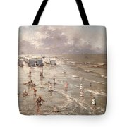 The Beach At Ostend Tote Bag by Adolphe Jacobs