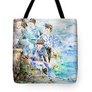The Beatles At The Sea Watercolor Portrait Tote Bag by Fabrizio Cassetta