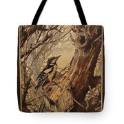 The Bird And Tree Marquetry Wood Work Tote Bag by Persian Art