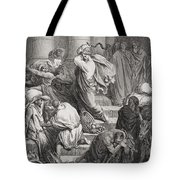 The Buyers And Sellers Driven Out Of The Temple Tote Bag by Gustave Dore