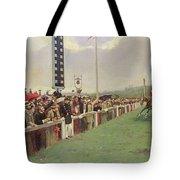 The Course At Longchamps Tote Bag by Jean Beraud