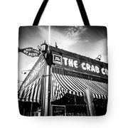 The Crab Cooker Newport Beach Black And White Photo Tote Bag by Paul Velgos