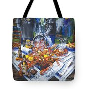 The Crawfish Boil Tote Bag by Dianne Parks