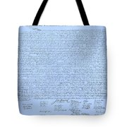 The Declaration Of Independence In Cyan Tote Bag by Rob Hans