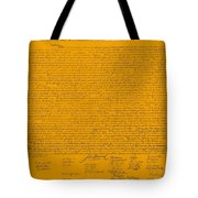 The Declaration Of Independence In Orange Tote Bag by Rob Hans