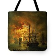 The Destruction Of The Turkish Fleet At The Bay Of Chesma Tote Bag by Jacob Philippe Hackert