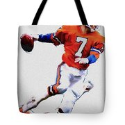 The Drive  John Elway Tote Bag by Iconic Images Art Gallery David Pucciarelli