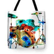 The Drums - Music Art By Sharon Cummings Tote Bag by Sharon Cummings
