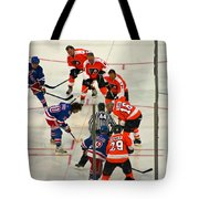 The Faceoff Tote Bag by David Rucker