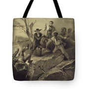 The Fight Between George And Tom Loker Tote Bag by Adolphe Jean-Baptiste Bayot