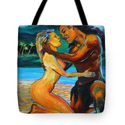 The First Kiss Tote Bag by Karon Melillo DeVega
