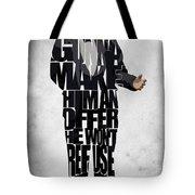 The Godfather Inspired Don Vito Corleone Typography Artwork Tote Bag by Ayse Deniz
