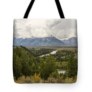 The Grand Tetons Over Snake River - Grand Teton National Park - Wyoming Tote Bag by Brian Harig