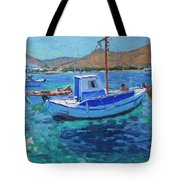 The Harbor  Tinos Tote Bag by Andrew Macara