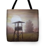 The Hunting Lodge In The Field Tote Bag by Andreja Dujnic