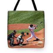 The Laser Show Dustin Pedroia Tote Bag by Tom Prendergast