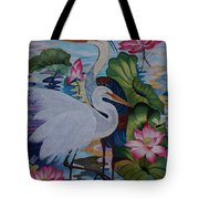 The Lotus Pond Hand Embroidery Tote Bag by To-Tam Gerwe