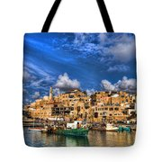 the old Jaffa port Tote Bag by Ron Shoshani