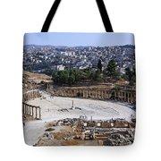 The Oval Plaza At Jerash In Jordan Tote Bag by Robert Preston