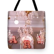 The Paris Market - Savannah Georgia Paris Market - Paris Market Shoppe - Paris Brocante Chandeliers Tote Bag by Kathy Fornal