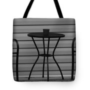 The Patio In Black And White Tote Bag by Rob Hans