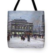 The Place Du Chatelet Paris Tote Bag by Eugene Galien-Laloue