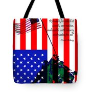 The Pledge Of Allegiance - Iwo Jima 20130210 Tote Bag by Wingsdomain Art and Photography