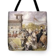 The Races At Longchamp In 1874 Tote Bag by Pierre Gavarni