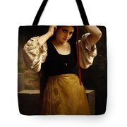 The Red Ribbon Tote Bag by William Adolphe Bouguereau