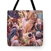 The Sermon On The Mount Tote Bag by Harold Copping