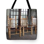 The Three Chairs Tote Bag by Denyse Duhaime