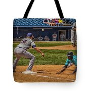 The Throw To First Tote Bag by Karol Livote