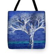The Tree In Winter At Dusk - Painterly - Abstract - Fractal Art Tote Bag by Andee Design