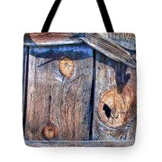 The Weathered Abstract From A Barn Door Tote Bag by Bob and Nadine Johnston