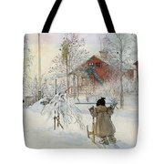The Yard And Wash House Tote Bag by Carl Larsson