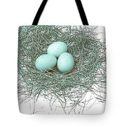 Three Eggs In A Nest Teal Brown Tote Bag by Jennie Marie Schell