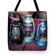Three Kerosene Lamps Tote Bag by Susan Savad
