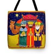 Three Kings And Camel Tote Bag by Linda Benton