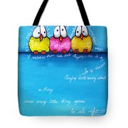 Three Little Birds Tote Bag by Lucia Stewart