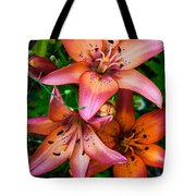 Three Pink Lilies Tote Bag by Omaste Witkowski