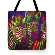 Three Rainbow Zebras Tote Bag by Jane Schnetlage