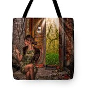 Through The Forest Door Tote Bag by Erik Brede