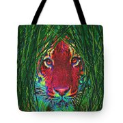 tiger in the grass Tote Bag by Jane Schnetlage